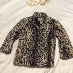 Chico's faux fur size 0 evening jacket 3/4 sleeve